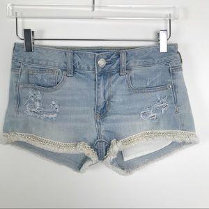 American Eagle Jean Embellished Shorts Sz 2